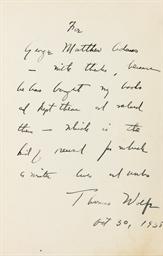 WOLFE, Thomas (1900-1938). Loo