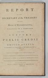 HAMILTON, Alexander. Report of