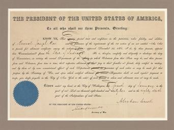LINCOLN, Abraham. Printed docu