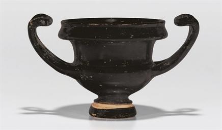 A GREEK BLACK-GLAZED KANTHAROS