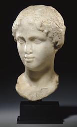A GREEK MARBLE PORTRAIT HEAD O