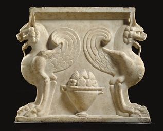 A ROMAN MARBLE TABLE SUPPORT
