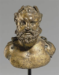 A ROMAN GILT BRONZE BUST OF HE