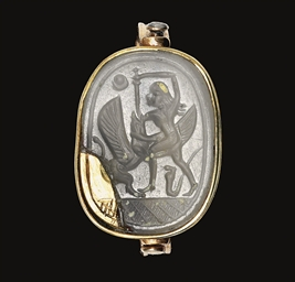 A PHOENICIAN CHALCEDONY SCARAB