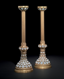A PAIR OF FAVRILE GLASS AND GI
