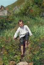 A boy climbing down a bank