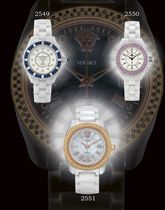 VERSACE  CERAMIC, STAINLESS STEEL AND DIAMOND-SET AUTOMATIC BRACELET WATCH WITH DATE DISPLAY AND MOTHER-OF-PEARL DIAL