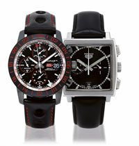 CHOPARD AND TAG HEUER, MILLE MIGLIA SPEED BLACK 2 AND MONACO HEUER  SET OF TWO STAINLESS STEEL AUTOMATIC CHRONOGRAPH WRISTWATCHES