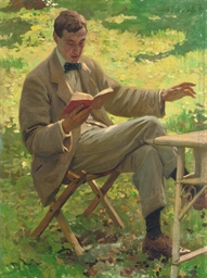 Alfred Munnings reading