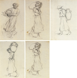 Nine figure studies of a girl
