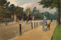 A view of West Carriage Drive, Hyde Park, looking onto the Coalbrookdale Gate