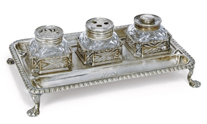 A GEORGE II SILVER THREE-BOTTL