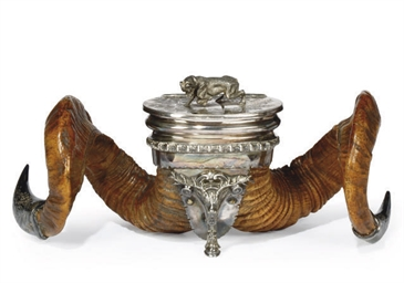 A VICTORIAN SILVER-PLATED RAM'