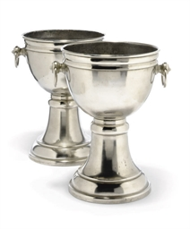 A PAIR OF SILVERED-METAL WINE