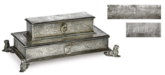 A DUTCH SILVER TREASURY INKSTA