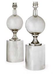 A PAIR OF NICKEL-PLATED TABLE