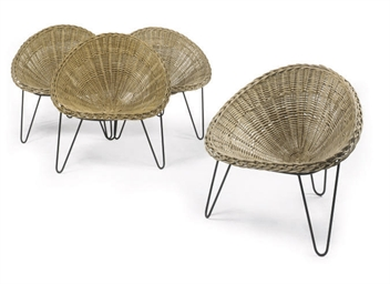 A SET OF FOUR WICKER BASKET AN
