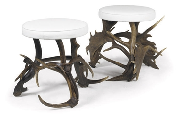 A PAIR OF ANTLER HORN STOOLS