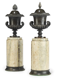 A PAIR OF FRENCH BRONZE URNS