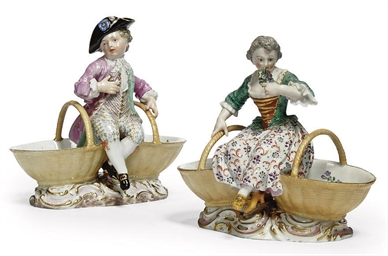 A PAIR OF MEISSEN TWIN SALTS