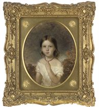 Portrait of Elizabeth Palfreeman Wilson, age 5, half-length, in a white dress with a red necklace, an extensive landscape beyond