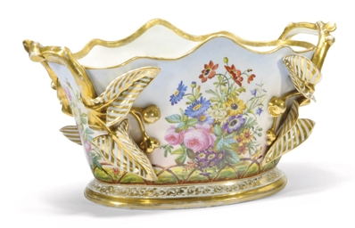 A FRENCH PORCELAIN TWO-HANDLED
