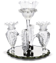 A CLEAR GLASS THREE-VASE EPERG