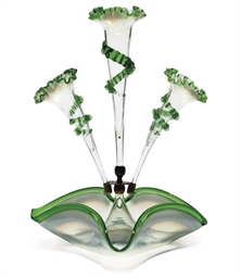 TWO GREEN GLASS FLOWER-EPERGNE