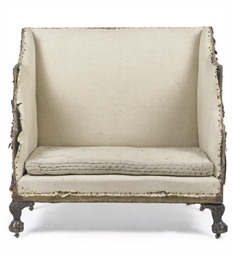 A GEORGE III WING BACK SOFA