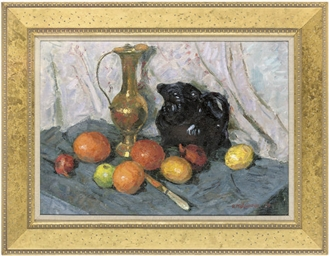 Fruit and jugs on a table