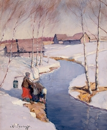 A water carrier in winter