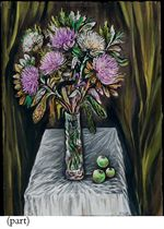 Still life with chrysanthemums and apples