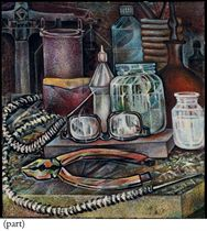 Still life with spectacles and pliers
