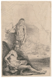 A nude Man seated and another