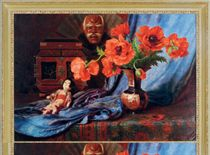 Still life with poppies in a vase and a porcelain doll