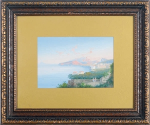 A view of the Bay of Naples; a