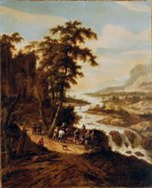 Travelers in a panoramic river landscape