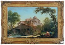 A watermill with a dovecot and a peasant couple seated under a tree in the foreground