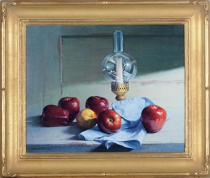 Still life of apples and a can