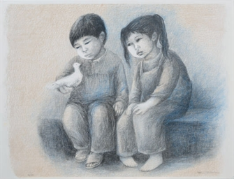 [Seated children]: Three Plate