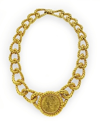 AN 18K GOLD COIN NECKLACE, BY