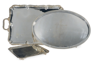 TWO ELIZABETH II SILVER TRAYS,