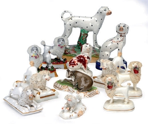 TEN STAFFORDSHIRE PORCELAIN MO