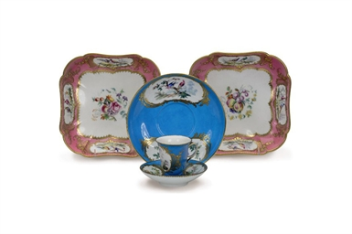 A PAIR OF FRENCH PORCELAIN LAT