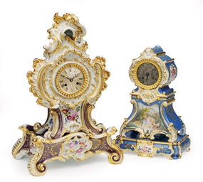 TWO FRENCH PORCELAIN ROCOCO RE