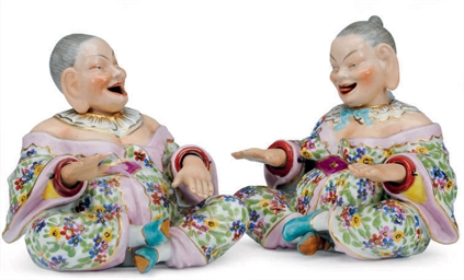 A PAIR OF GERMAN PORCELAIN MEI