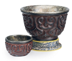 TWO CHINESE GURI LACQUER CUPS,