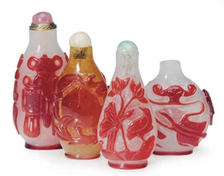 FOUR CHINESE RED-OVERLAY GLASS