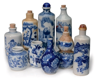 A GROUP OF NINE CHINESE BLUE A