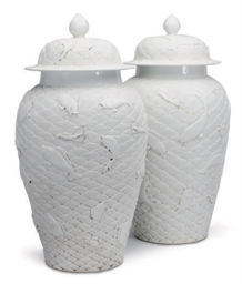 A PAIR OF WHITE-GLAZED LARGE J